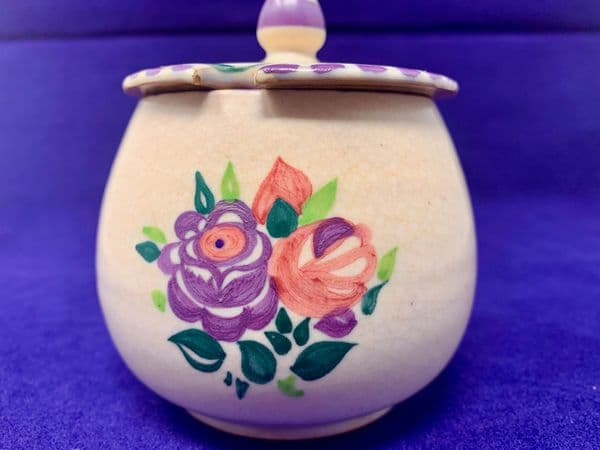 Carter Stabler Adam Ltd Poole Pottery, Red Clay Jam Pot With Lid, C.1927